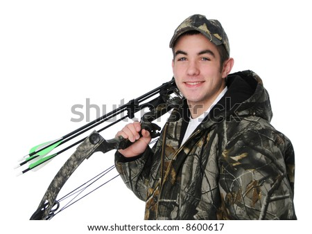 Young hunter with bow and camouflage isolated on white - stock photo
