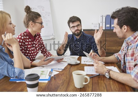 Young, independent and creativity team on the meeting - stock photo