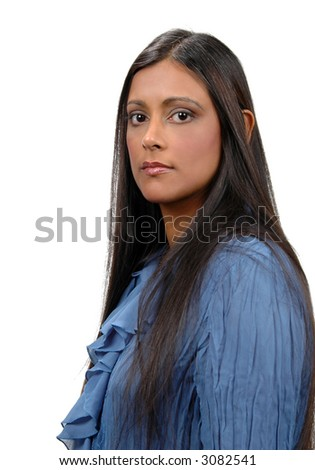 Young Indian woman looking into camera isolated over a white background