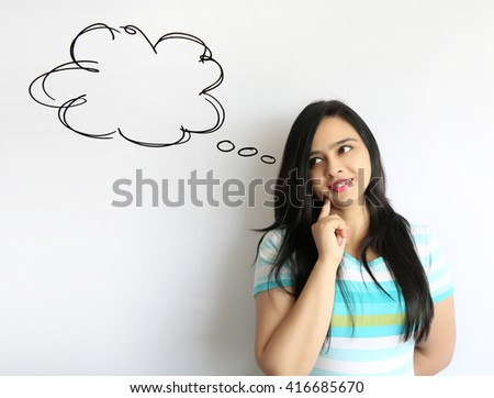 Young indian woman with long hair thinking bubble on white Background