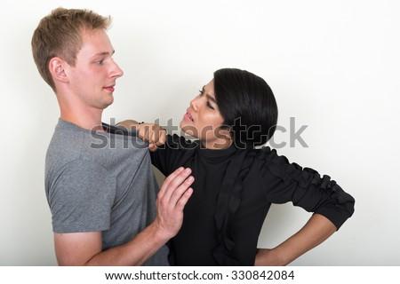 Young interracial couple - stock photo