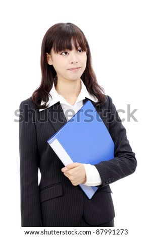 Young japanese business woman holding a file document