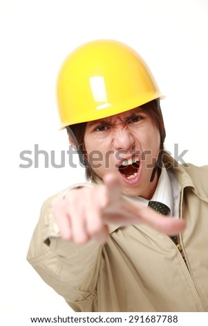 young Japanese construction worker scolding