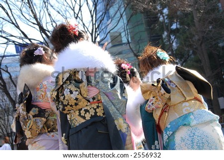 young Japanese women in kimono on Coming of Age Day - stock photo