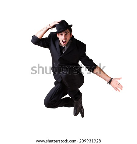 young jumping businessman - stock photo