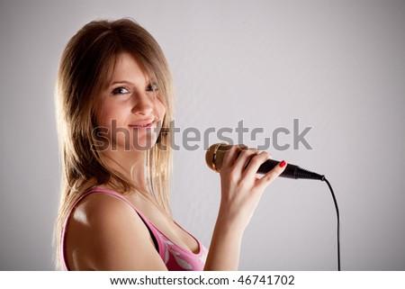 young karaoke girls - stock photo