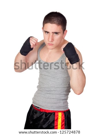Young Kickboxer with many muscle Isolated on White