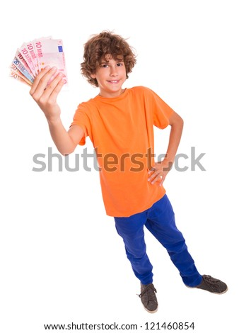 Young kid with Euro banknotes in hands - stock photo