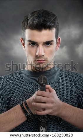 Young knight's portrait - stock photo