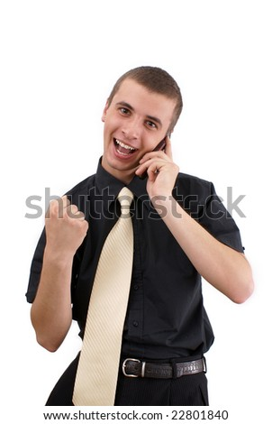 young lad with telephone on white background - stock photo
