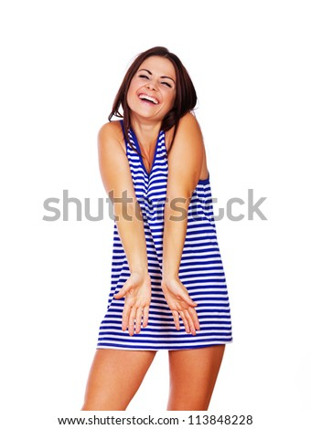 Young lady burst out laughing
