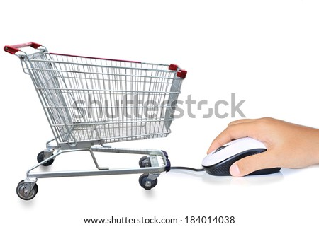 Young lady hand hold mouse Information technology with Shopping cart, network social media concept, illustration modern template design  - stock photo