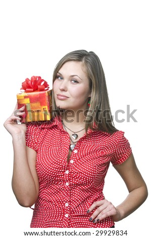 Young lady holding a gift , isolated on white