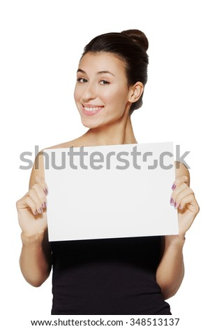 young lady holding blank sheet of paper