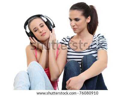 young lady listen to music on earphone