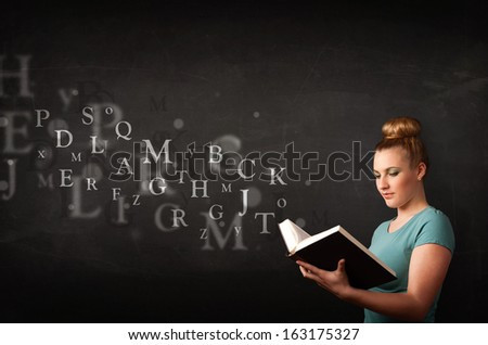 Young lady reading a book with alphabet letters coming out of the book