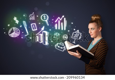 Young lady reading a book with business icons coming out of the book - stock photo