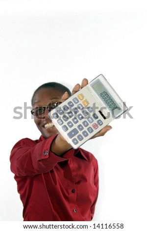 young lady smiling with calculator - stock photo