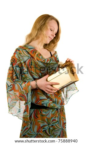Young Lady with a Present - stock photo