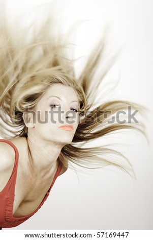 young lady with flowing hair