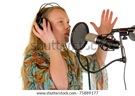 Young Lady with Headphones - stock photo