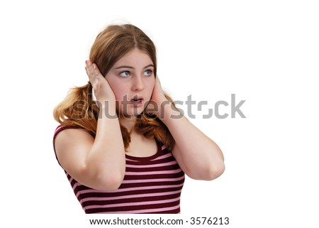 Young lady with her hands on her ears, isolated on white - stock photo