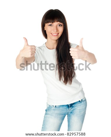 young lady with thumb up isolated on white