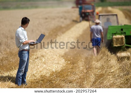 Young landowner with laptop supervising harvesting work - stock photo