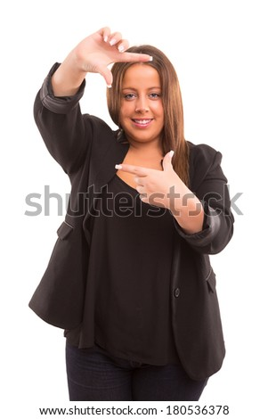 Young large woman making framing key gesture - isolated over white - stock photo