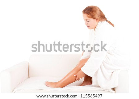 Young Large Woman taking a time for herself - beauty care concept