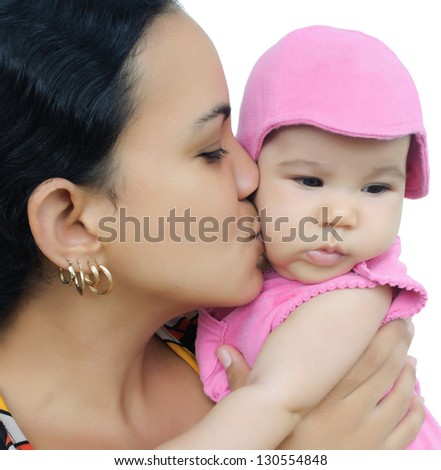 Young latin woman and her beautiful daughter isolated on white - stock photo