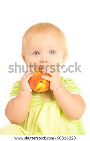 Young little baby eat red peach on white