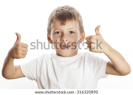 young little boy isolated thumbs up on white gesturing both hands - stock photo