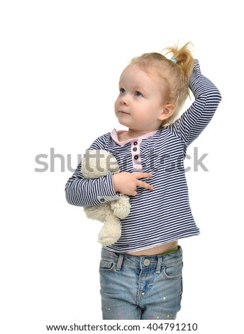 Young little child girl kid thinking and looking up isolated on white background - stock photo
