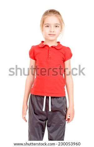 young little girl isolated in white background