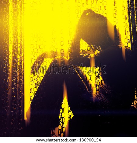 Young lonely woman - stock photo