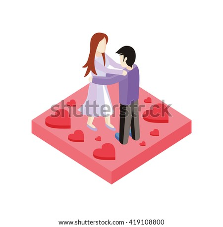 Young love couple dance isometric style design. 3d people romance woman and man dancing on place with heart, love couple  boy and girl isometric design embracing with passion,  illustration - stock photo