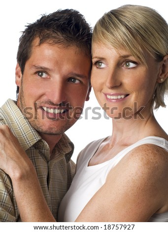 Young love couple smiling close up shoot