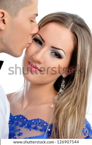 Young lovely couple  kissing on valentine's day - stock photo