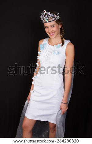 Young lovely woman in crown - stock photo