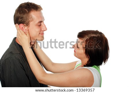 young loving couple on white background