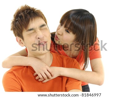 young loving people, woman and man, hugging each other