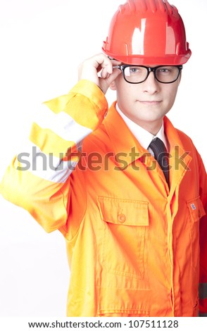 Young male builder with glasses. - stock photo