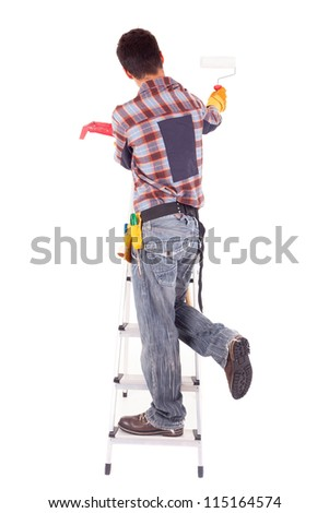 Young male construction worker, isolated over white background
