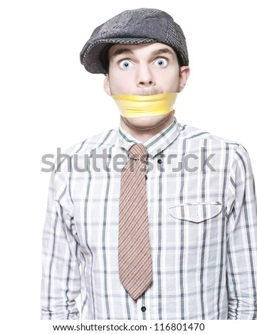 Young Male Crime Scene Witness With Terrified Expression Standing Taped And Gagged To Prevent Talking Isolated On White - stock photo