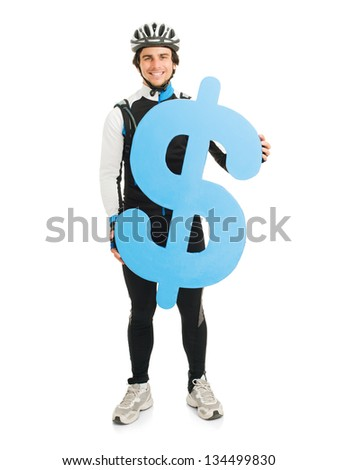 Young Male Cyclist Holding Dollar Sign Isolated On White Background - stock photo