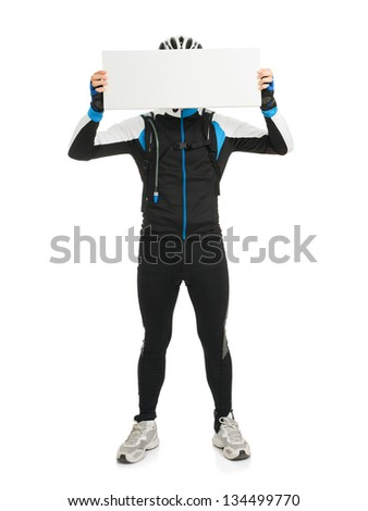 Young Male Cyclist Holding Placard Isolated On White Background - stock photo