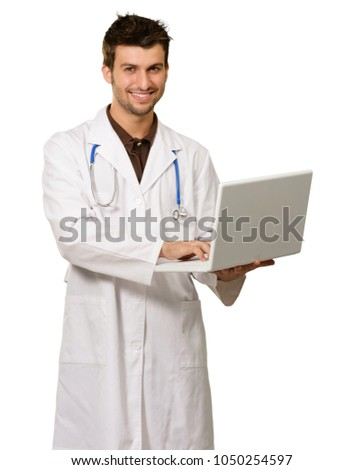 Young Male Doctor Holding Laptop On White Background