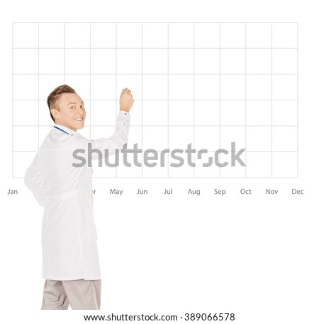 Young  male doctor in white coat drawing a schedule calendar  on blank glass board or virtual screen with marker .People and medicine concept. Image isolated on a white background. - stock photo