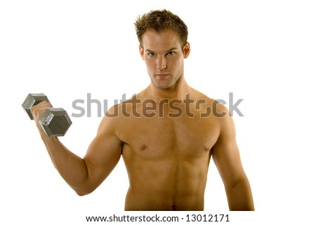 Young male exercising with dumbbells